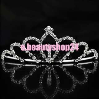 Fashion Bridal Rhinestone Crown Hair Comb Pin Tiara 4.5 x 11cm