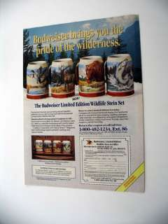 Budweiser Wildlife Beer Stein Set 1989 PRINT AD