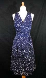 Navy Blue White Polka Dot Chiffon Wrap Halter Dress 12