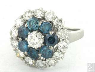 18K WHITE GOLD 3.79CT VS WHITE/BLUE DIAMOND CLUSTER COCKTAIL RING SIZE