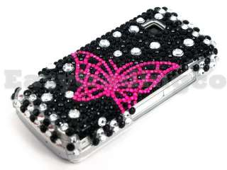 Crystal Bling Back Case Cover Nokia 5230 Pink Butterfly