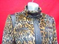 RETRO Animal Print Leopard fur &Black Faux Leather Coat eur 40 uk 12