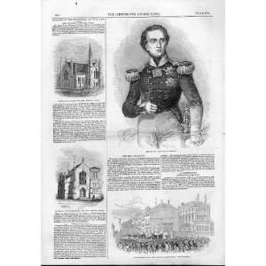 Hm King Of Saxony 1844 Antique Print