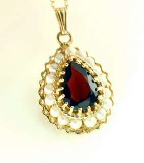 Antique 14K Yellow Gold Pear Shaped Garnet Seed Pearl Pendant Chain