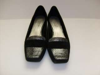 Franco Sarto Black Reptile Croc Print Shoes Loafers 9 M