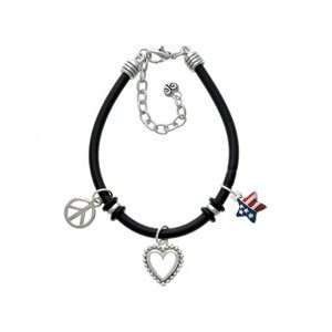 USA Patriotic Star Black Peace Love Charm Bracelet [Jewelry] Jewelry