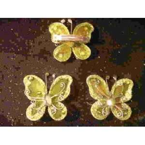 2 Butterfly Hair Clips Barrettes Bow with Metal Clip
