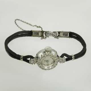 BENRUS 14K White Gold Vintage Estate Ladies Diamond Watch