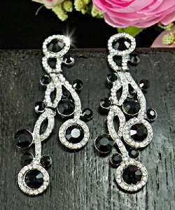 Elegant Black & Clear Swarovski Crystals 18KGP Dangle Earrings E222