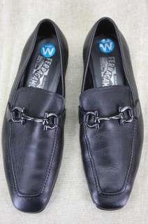 Salvatore Ferragamo Mens Gregory Black Leather gancini bit Loafers