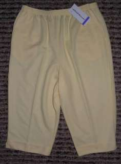 NWT ALFRED DUNNER Womens Elatic Waist Pull On Yellow Capris Pants Size