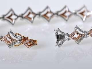 Gregg Ruth 18K Rose White Gold Diamond V Shape Bracelet