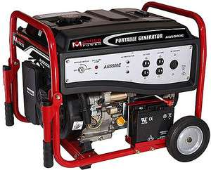 5500 Watt Portable Generator w/ Wheel Kit ~ Electric Start Gas Powered