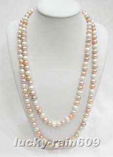 47 9mm white pink freshwater pearls necklace