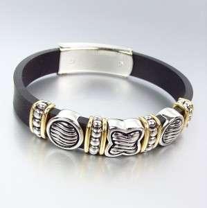 Designer Style Silver Cable Gold Quatrefoil Links Rubber Bracelet