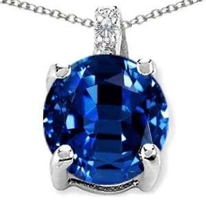 CandyGem 14k Gold Lab Created Round Sapphire and Diamond Pendant(Metal