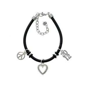 Silver Vertical Year   2012   Black Peace Love Charm Bracelet [Jewelry