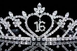 Princess Sweet 16 Birthday Crystal Crown Tiara 4499