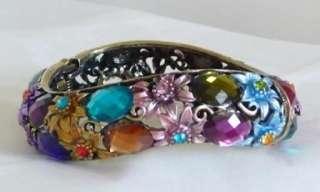 Vintage Style Purple Blue Red Crystal Bangle Bracelet