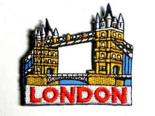 LONDON BRIDGE TOWN UK 2 IRON ON PATCH EMBROIDERED I057
