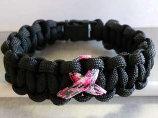 BREAST CANCER AWARENESS~ *PINK CAMO RIBBON* PARACORD BRACELET (FREE