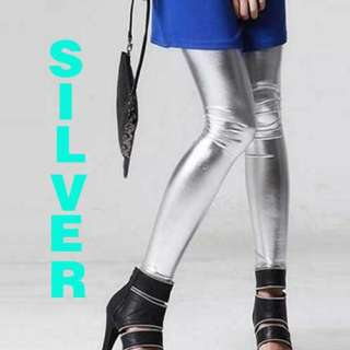 Length Footless Shiny Leggings Pants Tights Black Gold Silver