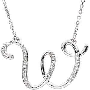 14K White Gold Alphabet Initial Letter R Diamond Pendant