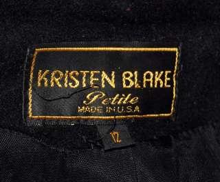 Kristen Blake Womans Black Full Length Wool Coat Sz 12