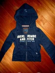 Fitch by Hollister Navy Blue Zip Up Crop Hoodie Sweat Shirt L