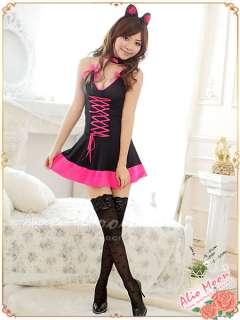 Japan Cosplay Black Hot Pink Kitty Cat Ear Neko Costume