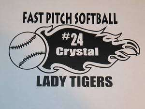 Softball Fastpitch Vinyl graphics, window decals