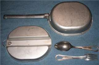 Wyott US Army Mess Kit Spoon Fork Pan Camping Field Gear Military Chow