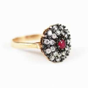 Sterling Silver Ruby and High Quality Zirconia Stones Princess Ring