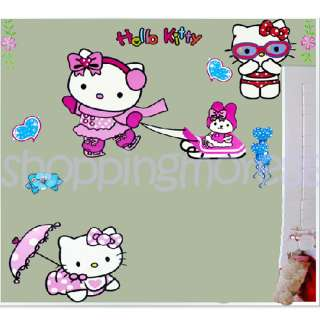 styles (swimming, skating & bb) Hello Kitty Cute Wall Sticker Home