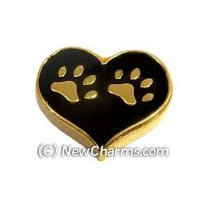 Heart Paw Print Floating Locket Charm Jewelry
