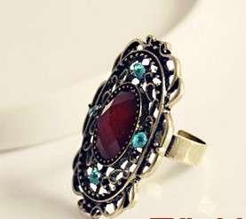 Vintage Bronze Big Gem Rhinestone Cool Adjustable Rings