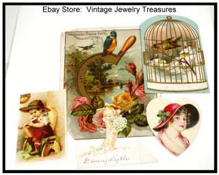 Lot of 5 Victorian Paper Trade Cards Scraps Birdcage Lion Coffee