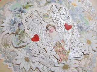 Victorian Paper Lace Heart Shape Cupid Layered Valentine Card of Paper