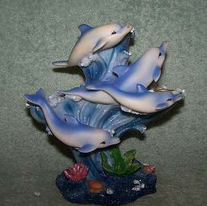 Figurines 3 Candle Holders Swimming Around Coral Ocean Fish Sparkles