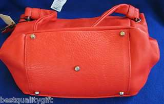 VALENTINA CORAL RED LEATHER BAG TOTE HOBO PURSE~ITALY