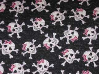 Handcrafted Table Runner Skulls girls room decor pink crossbones