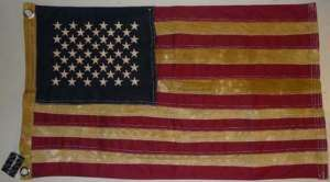 Tea Stained Antiqued Primative Looking American US Flag