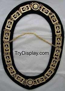 Gold #01 Master Mason Chain Collar & Dark Blue Velvet Backing Masonic