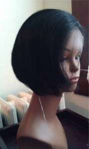 Short Remy Lace Front Wig (Premium Quality Human Hair Color #1, 1b, 2