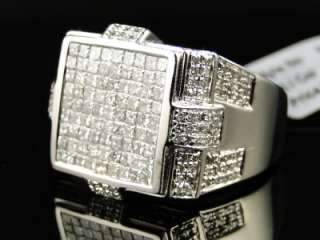 14K MENS WHITE GOLD PRINCESS CUT DIAMOND SQUARE PINKY FASHION RING 1