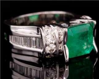 VS Columbian Emerald & Diamond White Gold Ring. 4.75 Carat Nat