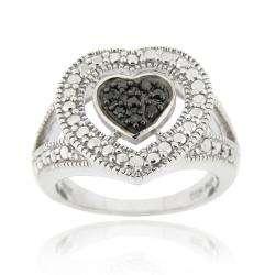 Sterling Silver 1/10ct TDW Black Diamond Heart Ring