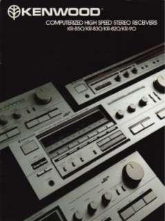 Kenwood Sereo Receivers Brochure KR 850, KR 830,KR 820 |