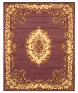 Hand tufted Wool Purple Aubusson Rug (5 x 8)