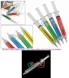 3x Injection Needle Tube Ball Point Pen Blue Writing